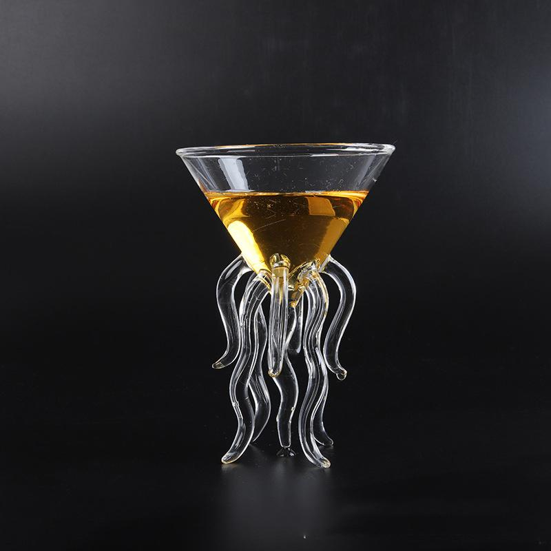 100ML Creative Octopus Cocktail Transparent Jellyfish Cup Juice Goblet Conical Wine Champagne Glass Y200107