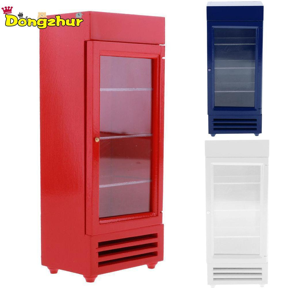 Kitchen Wooden Refrigerator Furniture Dolls House Mini Decor 1/12 Scale Accessories White Red Blue WWP4171