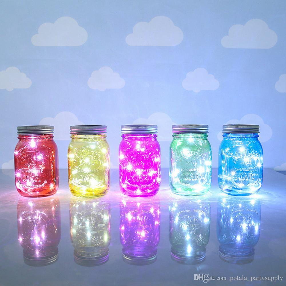 Solar Mason Jar Stunning LED Light LED Lamp Fairy Lid Insert Color Changing Summer Bar Garden Home decor Valentine's Day Eve rave party