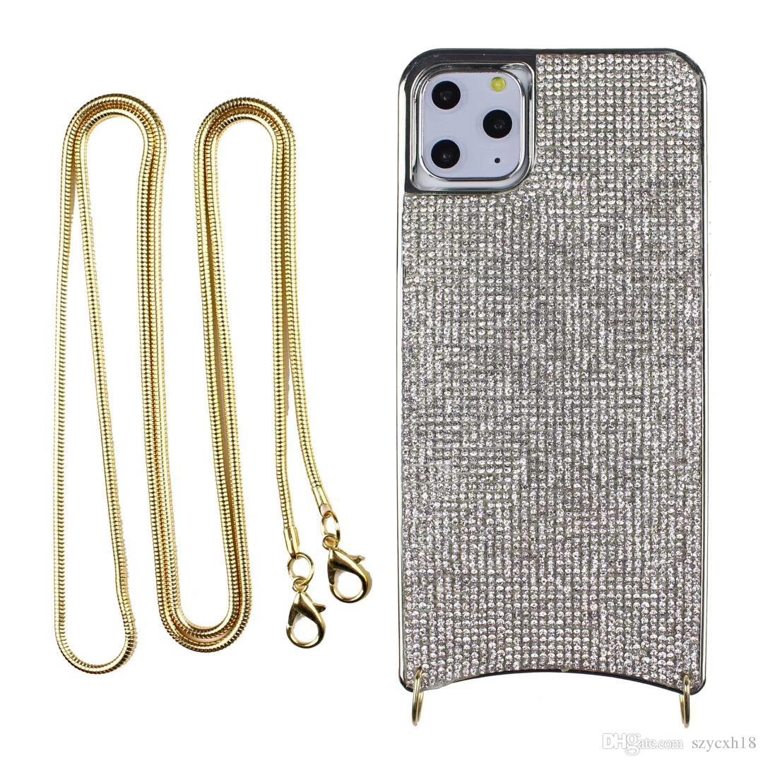 iPhone İçin Lüks telefon kılıfları 11 Pro Max XS XR XS MAX 8 7 artı Zincir Askı moda Arka Kapak tasarımcısı telefon kapağı ile yumuşak durumda Bling