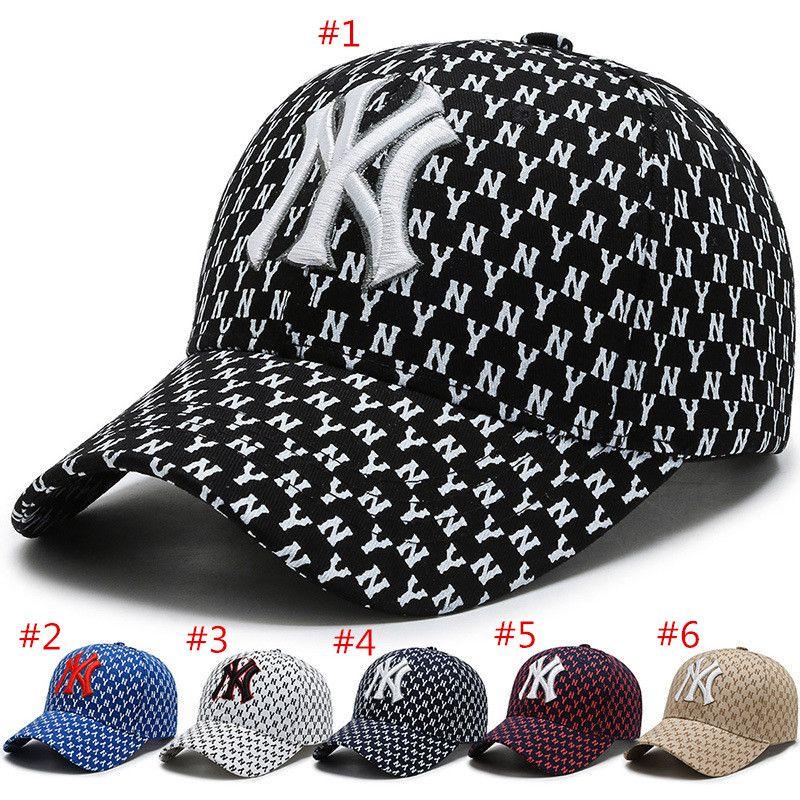 Brand Design NY Baseball Caps lettre pleine de luxe en coton imprimé boule Casquettes été femme Chapeau de soleil en plein air réglable Hommes Femmes Casquettes Snapback