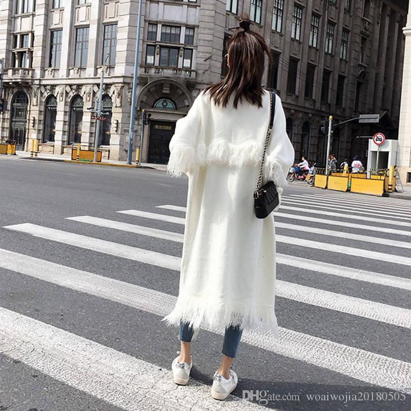 20191025 maglia superiore, nappa, lunghezza media solido sopra cardigan ginocchio, maglione e cappotto