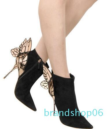 Hot Sale-Free shipping women's leather, butterfly wing trim, high heels, Zipper opening,pointy boots,size:34-42,black