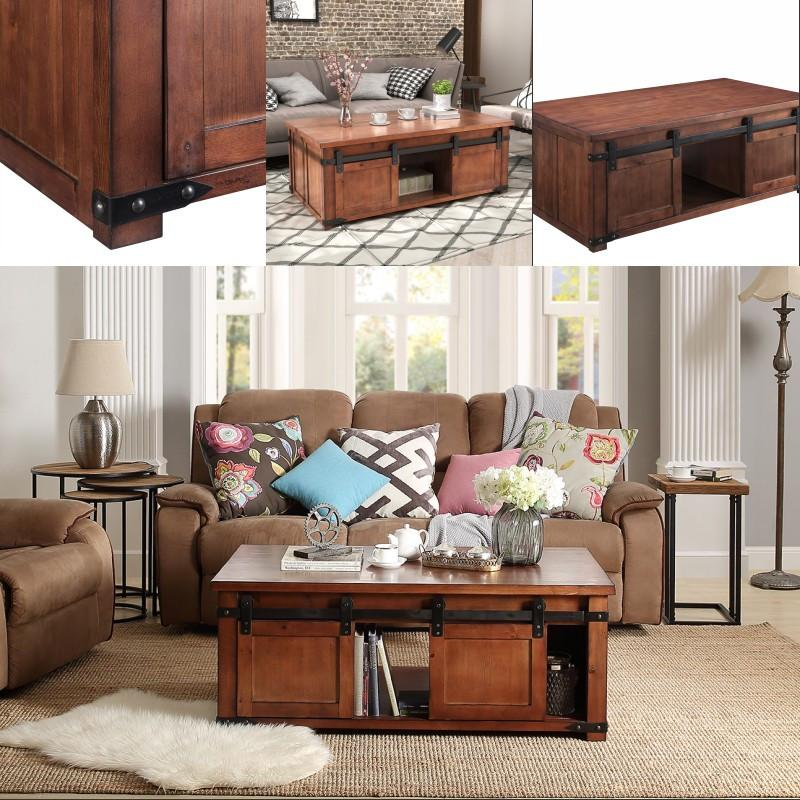 2019 US Simple Style Coffee Table With Storage Shelf Sliding Doors Living  Room Decoration In Stock Fast Shipping From Greatfurnishing, $176.55   ...