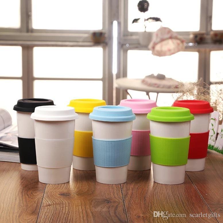1 Presentes Online Impressão Promocional Cerâmica Caneca de Café com Tampa Cafe Copos Copo De Água com Colorido Resistente Ao Calor De Silicone Aperto E Tampa