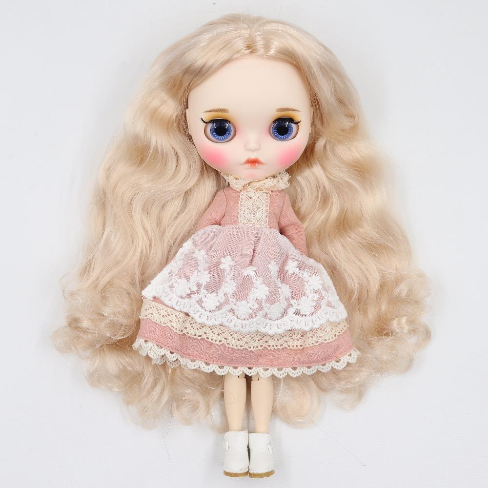 factory blyth doll 1/6 bjd white skin joint body, new matte face Carved lips with eyebrow customized face, BL3139 blonde hair