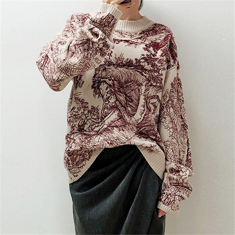Maglione delle donne eleganti del pullover del maglione del O-Collo del ricamo della stampa animale delle donne di modo delle progettazioni della pista