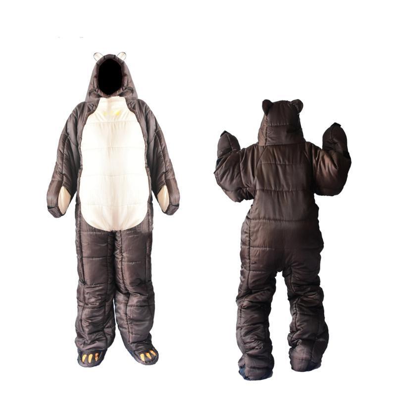 Invierno oso Saco de dormir ultraligero algodón camping al aire libre polares adultos clima frío Ligera momia saco de dormir Pads Senderismo