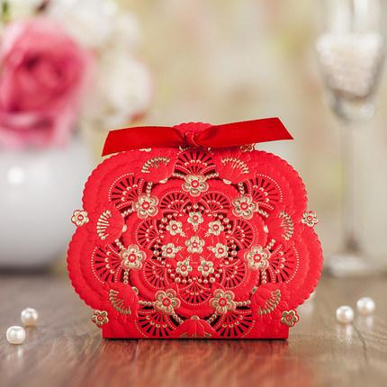 Red Laser Flower Wedding Favor Boxes Hollow Flower Wedding Candy Box With Ribbon Casamento Wedding Favors And Gifts