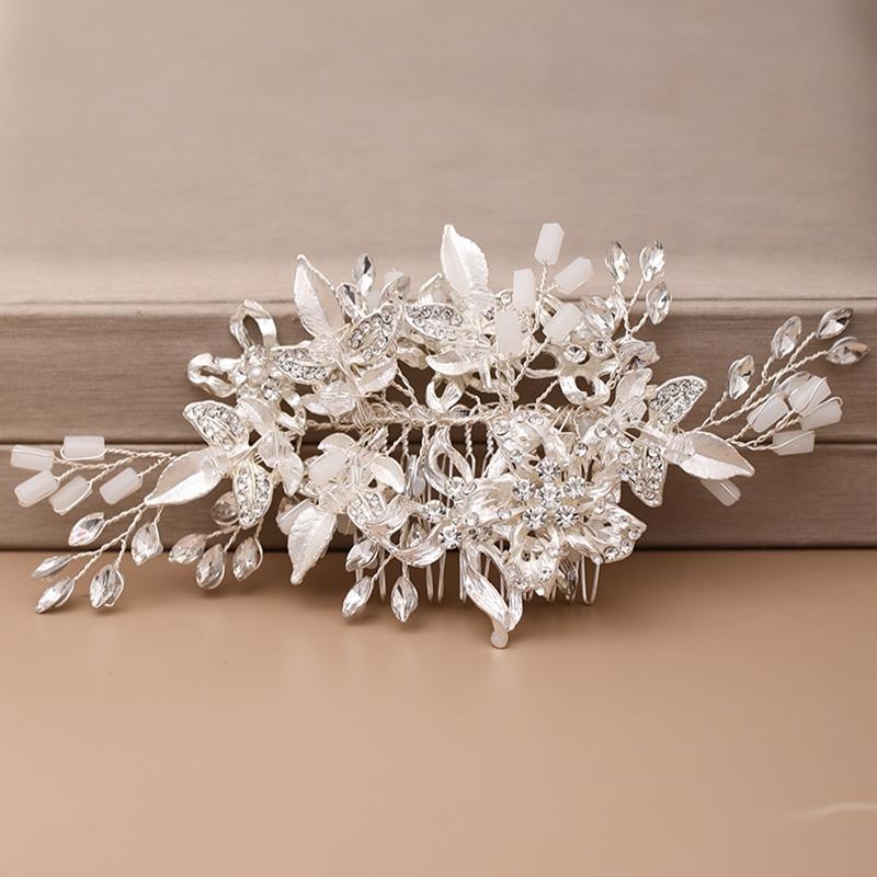 Brauthaar-Kamm-Haar-Zusätze für Frauen Hochzeit Kopfschmuck Silber Strass Blume Braut Kopfschmuck Hochzeit Schmuck