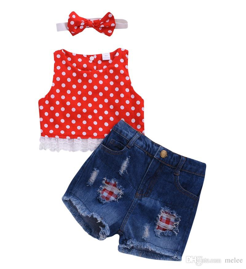 US Toddler Kids Baby Girls T-shirt Tops+Long Jeans Denim Pants Outfits Clothes