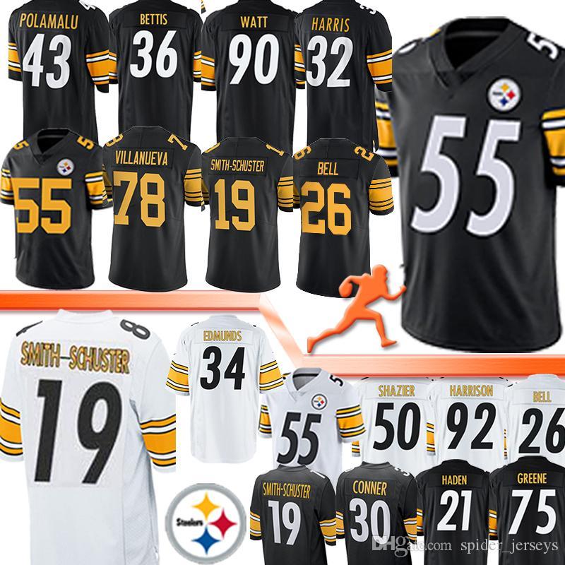 Pittsburgh Jerseys Steeler 7 Ben Roethlisberger 84 Antonio Brown 19 Juju Smith-Schuster 30 James Conner 55 Devin Bush Jersey