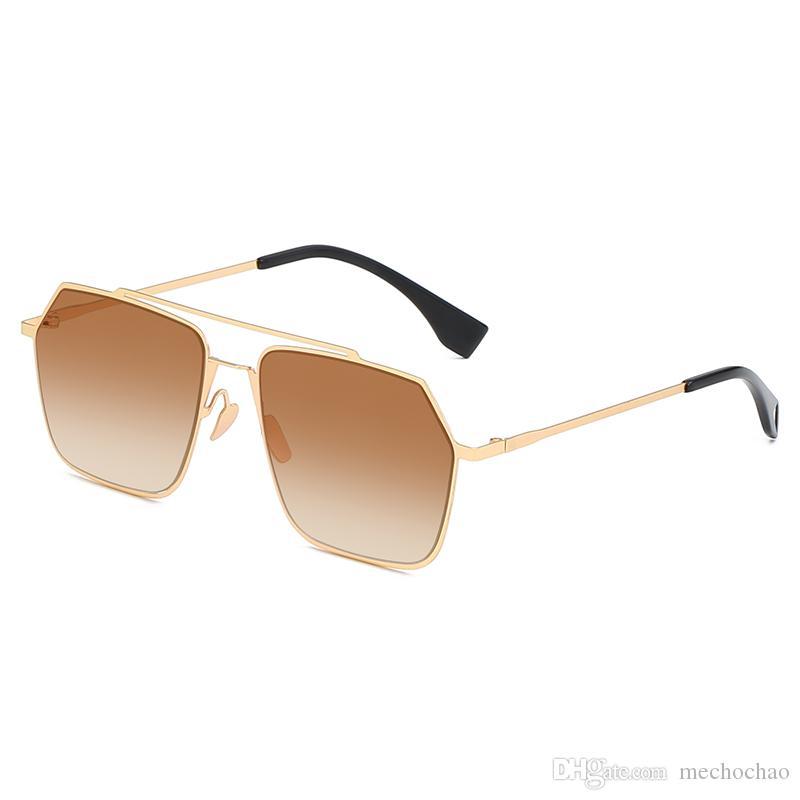 2019 г. новая мода, высококачественные солнцезащитные очки, солнцезащитные очки, металлические многоугольники, мужские и женские солнцезащитные очки в золотой оправе и градиентные кусочки океана 19