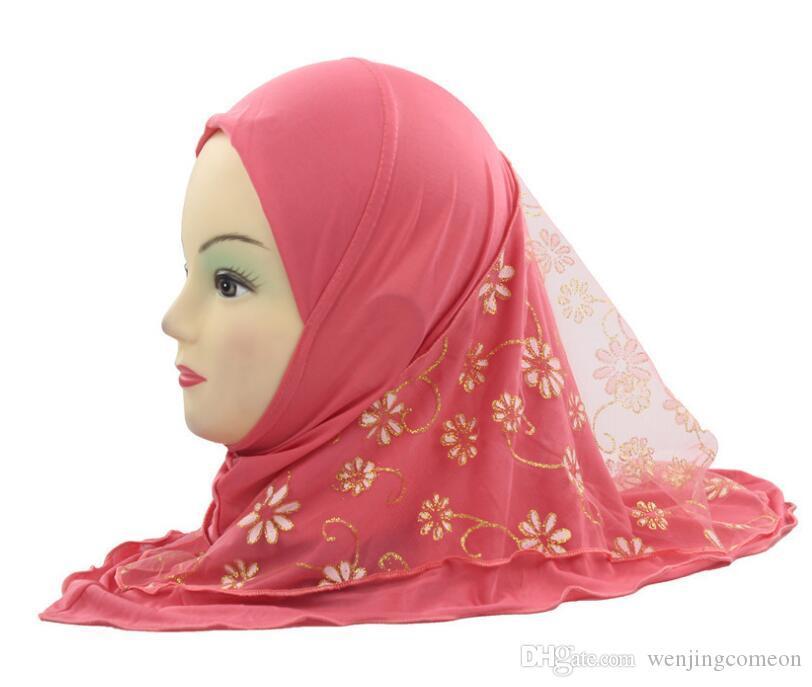 جديد أنثى زهرة الأطفال مسلم الحجاب قبعة أطفال زهرة وشاح قبعة عمامة قبعات عربية قبعات الإسلامية وشاح شالات