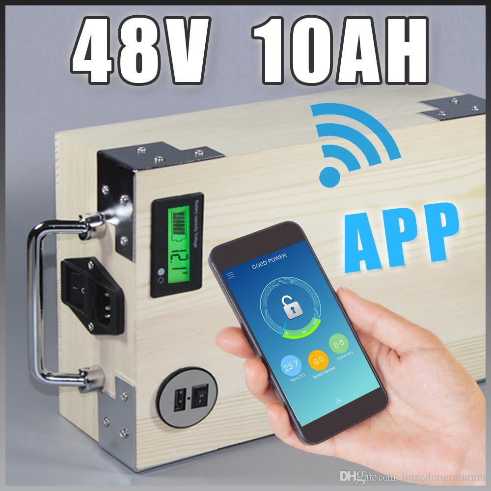 Aplicación 48 v 10Ah LiFePO4 Batería + BMS Bicicleta Eléctrica, Carregador de GPS Bluetooth controle 5 v Porta USB Paquete de scooter de bicicleta Eletr