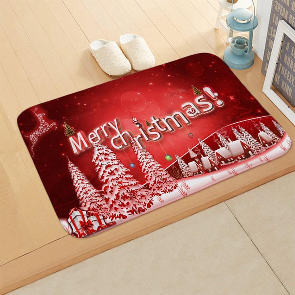Souarts 3шт нескользящий пьедестал ковер + крышка туалетная крышка + коврик для ванной набор для ванной комнаты Рождество Декоративный набор продуктов