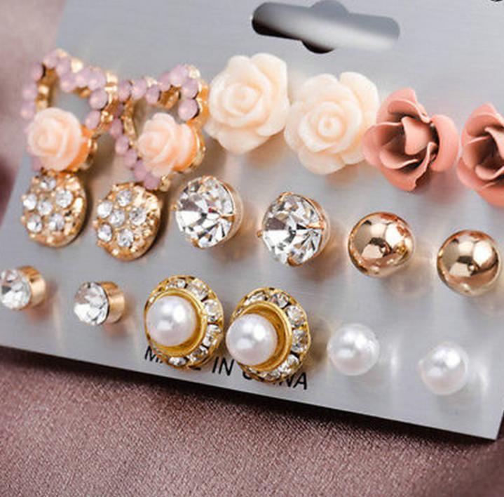12/9 pares / Pérola flor de cristal Studs Brincos meninas elegantes Rose coração da flor da orelha de jóias de Set dom mulheres