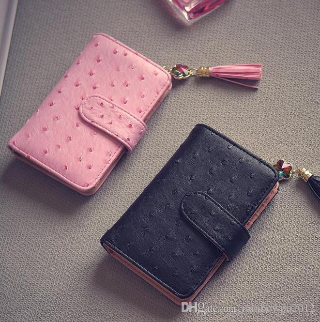 Fábrica mulheres venda directa sacos de avestruz mulheres carteira de couro moda curto carteira de couro borla bolsa carteira bolsa personalizado