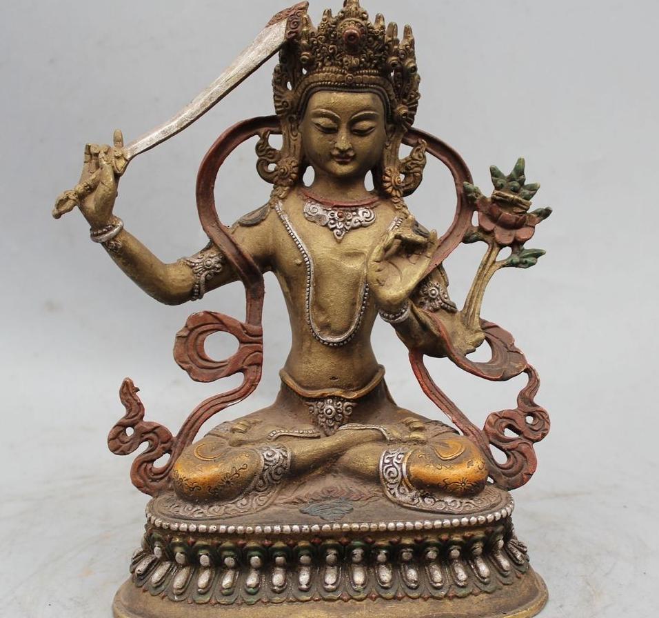 "8"" Il Tibet Buddismo del rame del bronzo Pittura Manjusri Bodhisattva Kwan-Yin di Guan Yin"