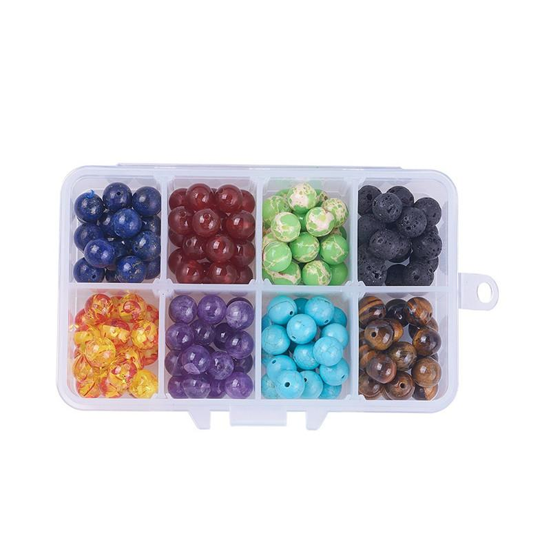 Бесплатная доставка DHL 1 коробка для изготовления ювелирных изделий чакра бусины круглый драгоценный камень бусины Лава камень бирюза Агат Аметист энергия натуральный камень