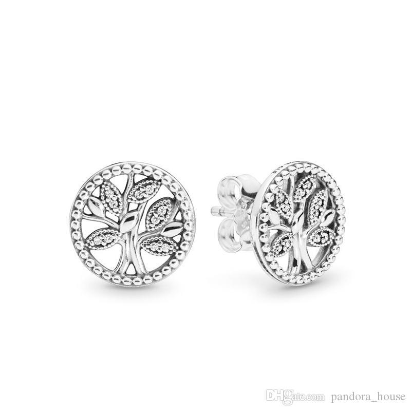 2019 Authentique réel Argent 925 Pandora Arbre de Vie Boucles d'oreilles bricolage Bijoux 297843CZ