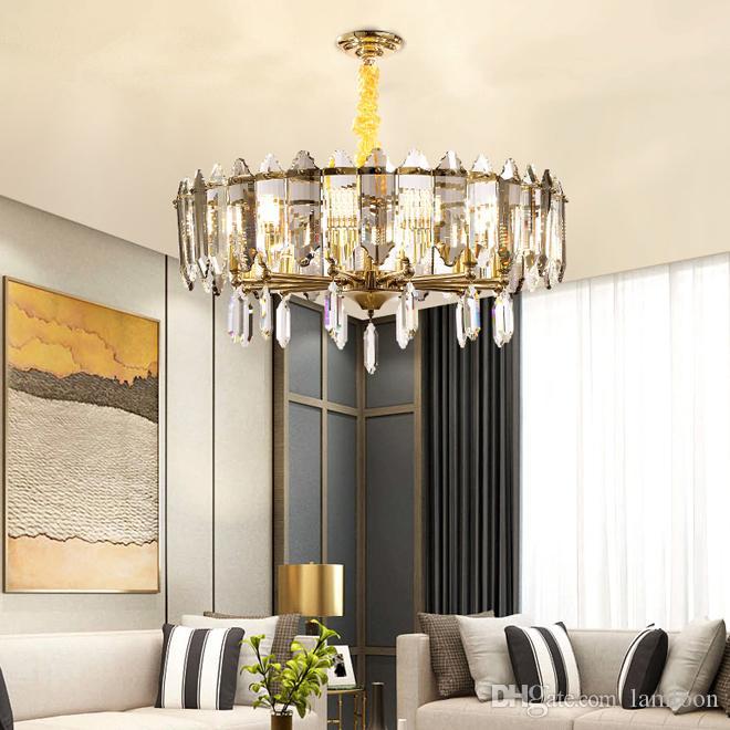 zeitgenössische neues Design Luxuxkristallleuchter Beleuchtung Kronleuchter Lichter einstellbar LED Pendelleuchte für Villa Wohnzimmer Schlafzimmer