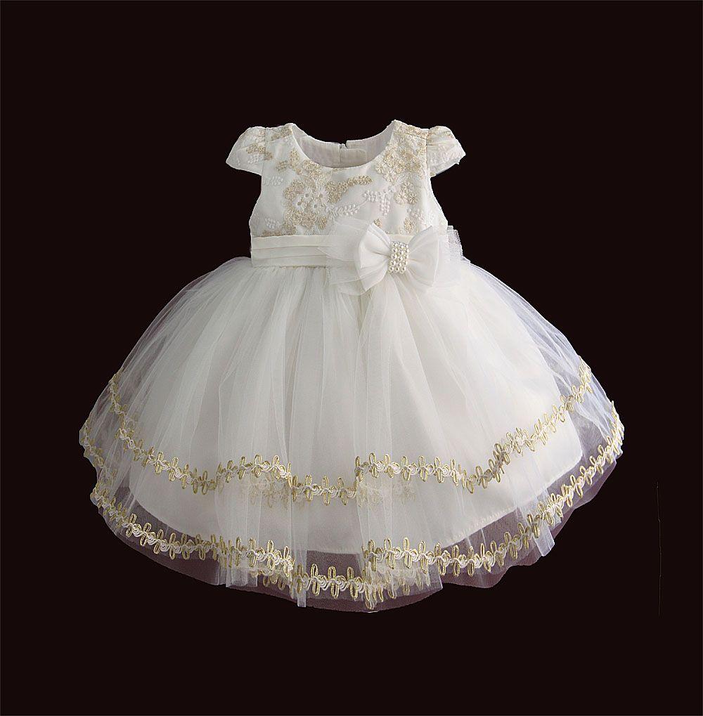 Новорожденных девочек день рождения платье-линии вышитые новорожденных одежда 1912