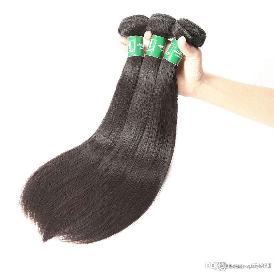 8A Bakire Saç Brezilyalı Saç Dokuma Paketi Düz 3PCS% 100 İnsan Saç Paketler Ücretsiz Kargo