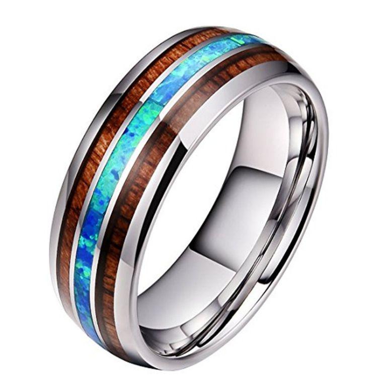 8 MM Geniş Ahşap ve Mavi Opal paslanmaz çelik Yüzük Erkekler Kadınlar Için Asla Fade Ahşap Titanyum çelik parmak Yüzük Moda Takı Hediye