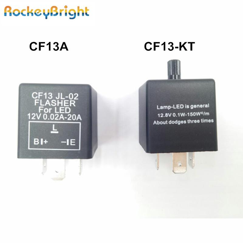 Rockeybright 12V 3-PIN 0.02A-20A Electronic LED Adjustable Flasher Relay For Turn Signal Light Blinker CF13-KT Car Flasher Relay