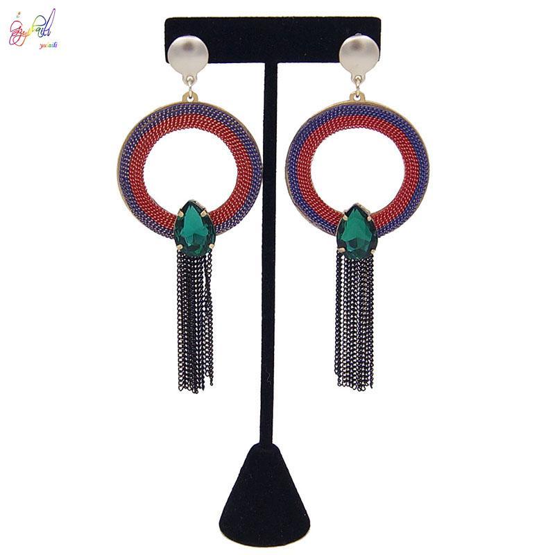 Yulaili New Dangle boucle d'oreille ronde forme artisanale Tassel Boucles d'oreilles longues géométrique pour les femmes Earings Party Bijoux Livraison gratuite