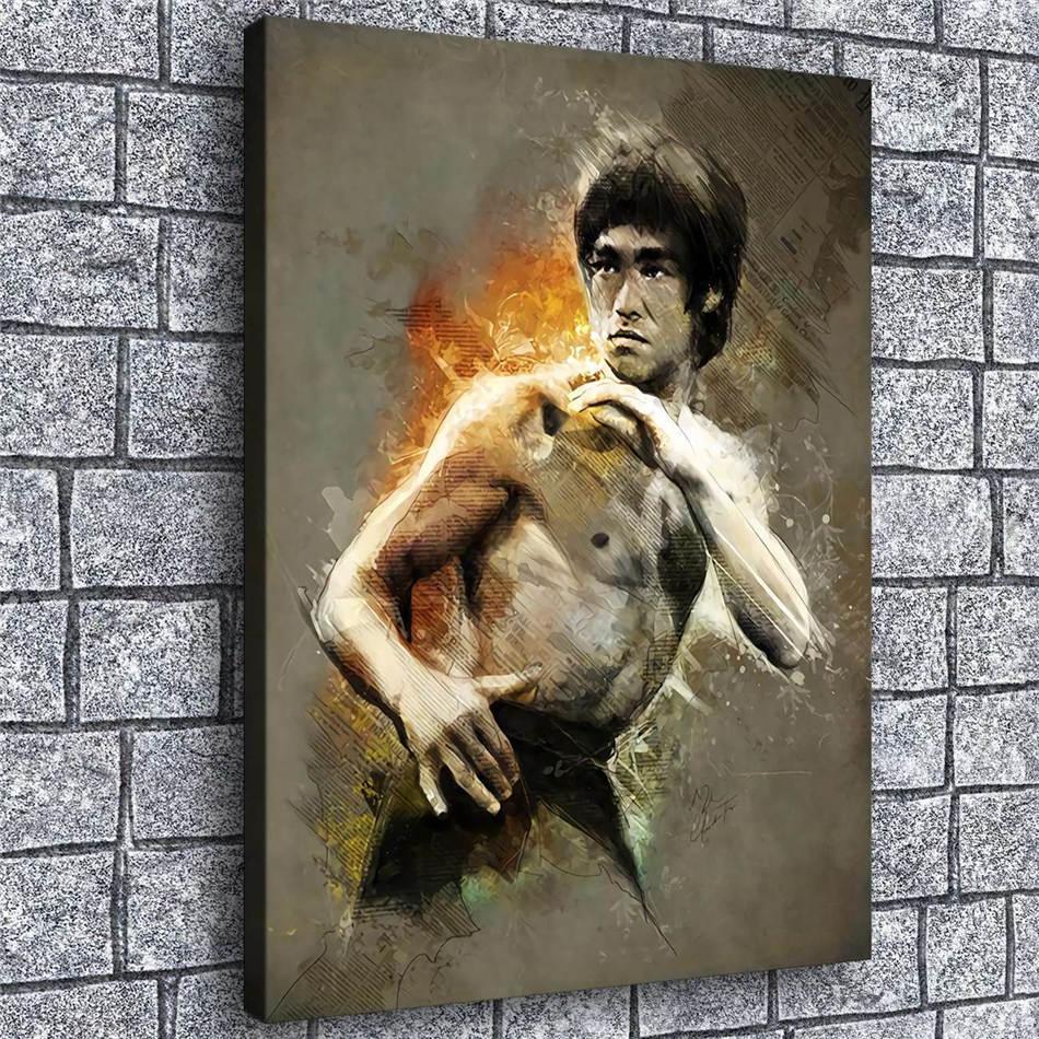 Ev Dekorasyonu 12x16 Boyama (Çerçevesiz / Çerçeveli) Bruce Lee Poster, 1 adet Kanvas Duvar Sanatı Yağı.