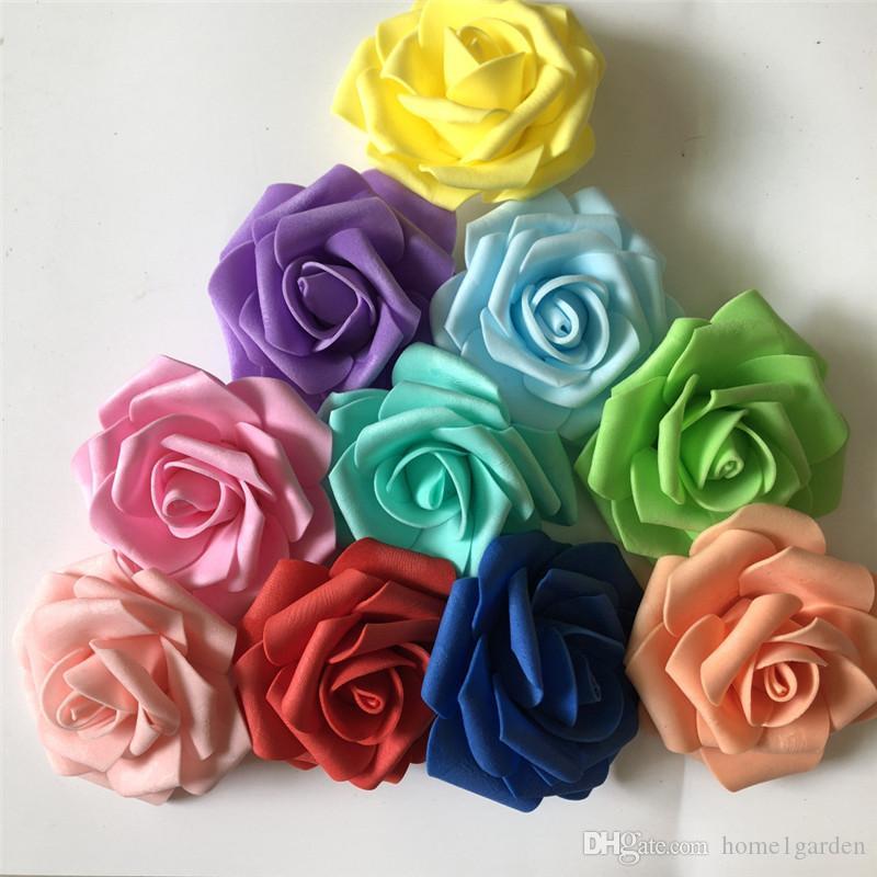 8CM Artificial Rose Flowers Heads 100pcs/lot PE Foam Home Wedding Decor Flower Scrapbooking DIY Supplies