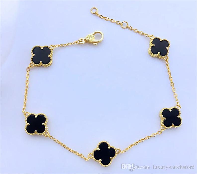 Vente chaude bracelets Shell trèfle avec agate verte trèfle à quatre feuilles pour les femmes d'argent en or rose V bracelet fleur ll