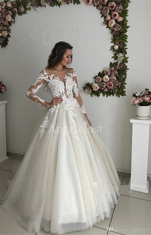 País vestidos de casamento Jardim 2019 Sheer varredura Neck mangas compridas Train Lace apliques Boho Illusion vestidos de noiva Vestido De Novia personalizado