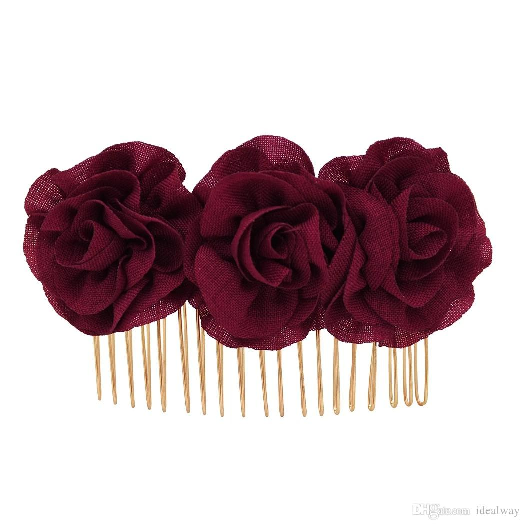 Black Red Rose Flower Hair Combs Wedding Bridal Fashion Jewelry Women Prom Headpiece Charm Hair Accessories Hair Pins Clips