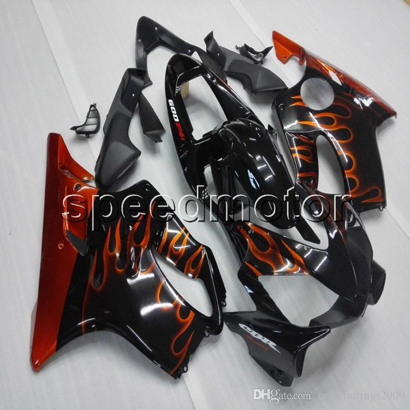 23colors + Botls Spritzgussform orange Flammen Motorradverkleidung Verkleidung für HONDA CBR 600F4i 2001 2003 ABS Motorhauben