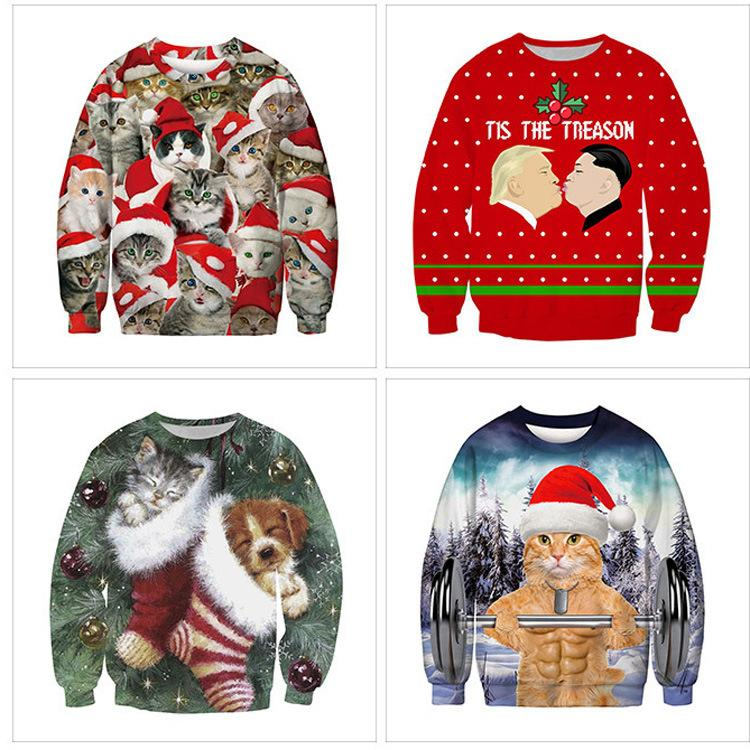 2020 Unisex men's and ladies Christmas Sweater fairy funny Christmas wig Pullover autumn and winter coat