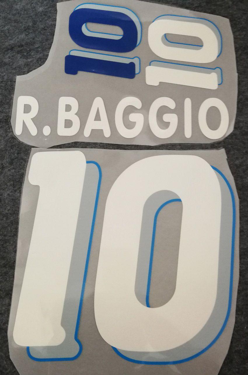 Joueur de football R.BAGGIO # 10, joueur de football R.BAGGIO, impression de rétro, 1994, estampage d'autocollant, numérotation imprimée, lettrage de football vintage
