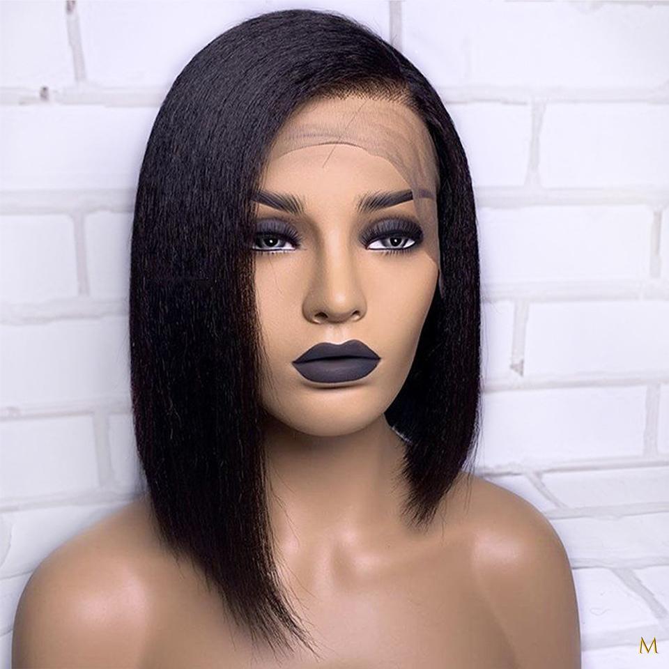 Kinky Straight Короткий Боб 13x4 фронта шнурка человеческих волос Парики для женщин 130% Remy бразильский щипковых волос младенца Средний Ratio отбеленная