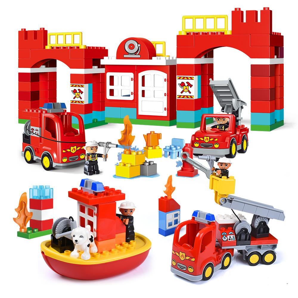 Duplo City Fire Station with Figures Firemen Big Size Building Blocks Toys For Children Compatible Legoings