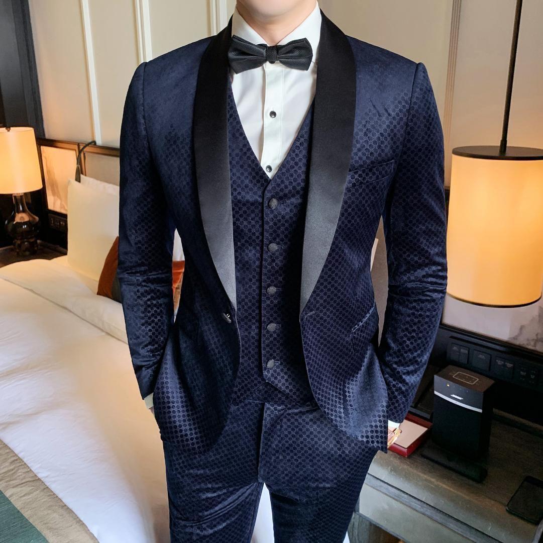 Velvet Dress Suits Mens Luxury Suits 3 Piece Blue Tuxedo Dinner Party Dress Mens Elegant Smoking Para Hombre Vestito Uomo