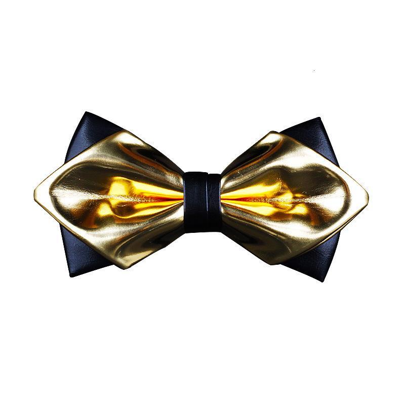 Designer 2020 moda Ouro Prata Pu couro Apontados presentes laço brilhante Nightclub Bowtie para Homens Acessórios