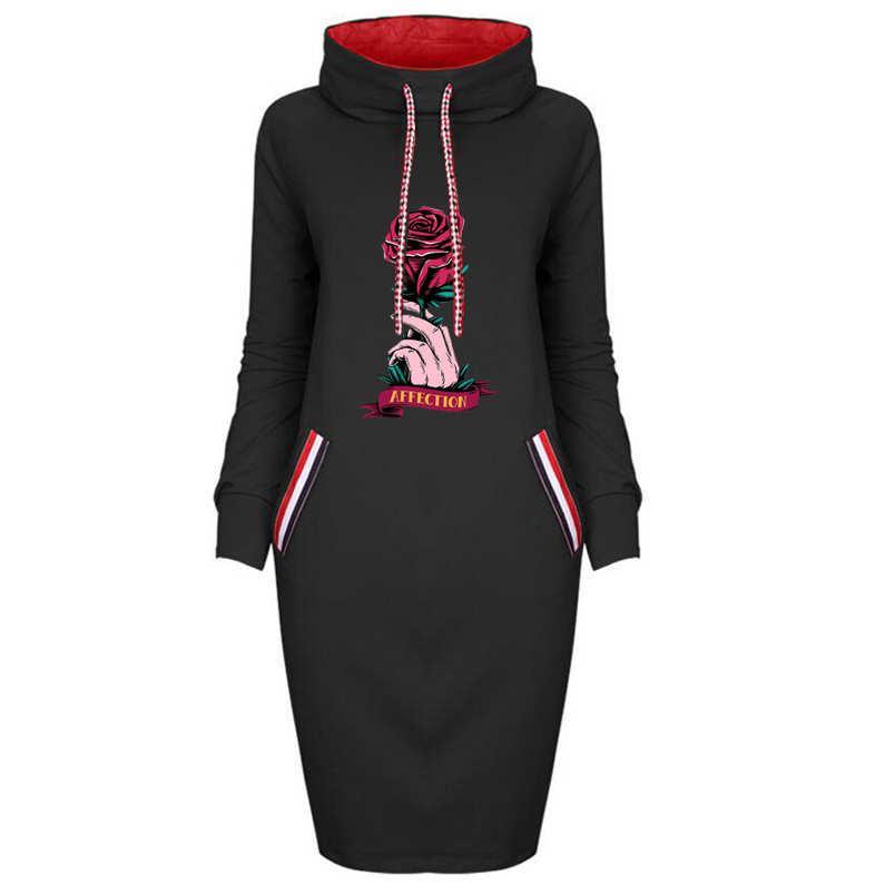 Мода женские DIY капюшоны платья повседневные длинные рукава с напечатанным женским платьем для осенью и зимой новое поступление дамы DIY одежда