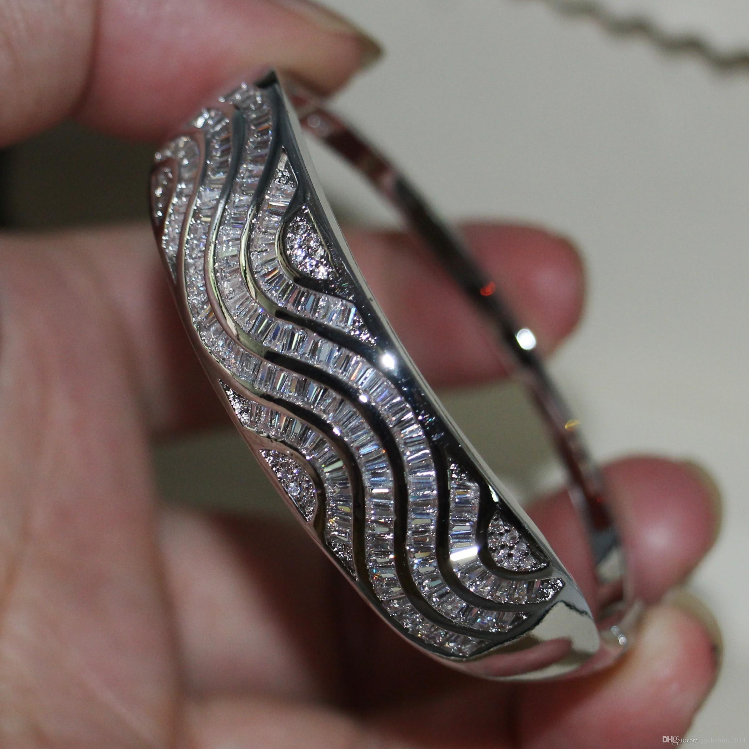 Heißer Verkauf Neue Ankunft Luxus Schmuck 925 Sterling Silber Prinzessin Cut Weiß Topaz CZ Diamant Frauen Hochzeit Wist Armreif Für Lovers Geschenk