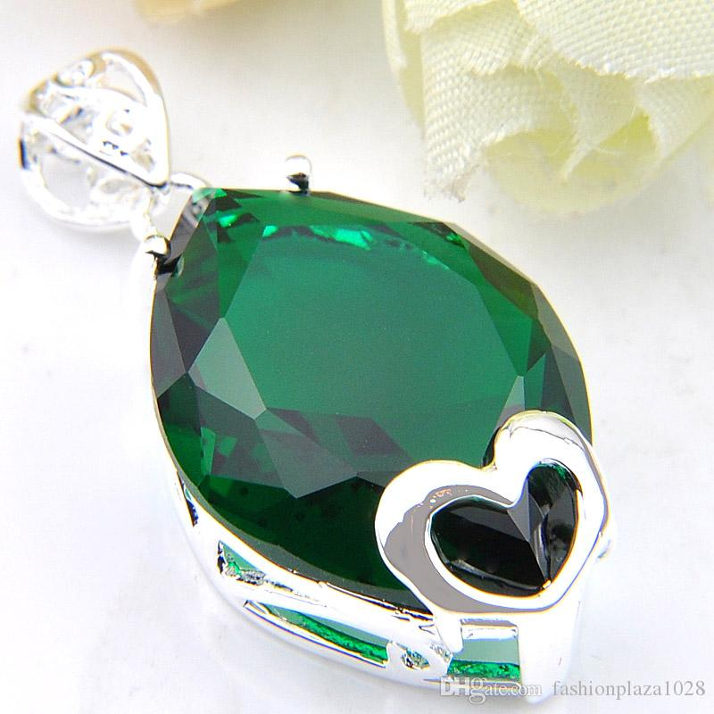 Special Offer 10 Pieces/Lot Luckyshine Gorgeous Shiny Heart-shaped Green Quartz Gems Silver Necklace Pendants Jewelry For Women