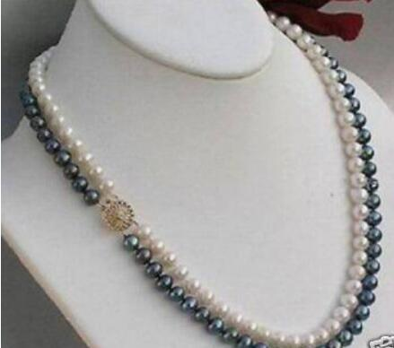 FREE SHIPPING++12Row 7-8MM WHITE & BLACK PEARL NECKLACe 17-18""