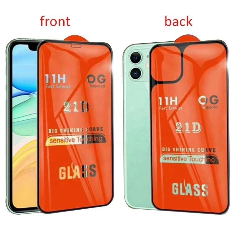 21D PARFAITEMENT pleine colle avant et arrière écran en verre trempé de protection pour iPhone 11 Pro Max iPhone11 verre arrière avant dans une boîte