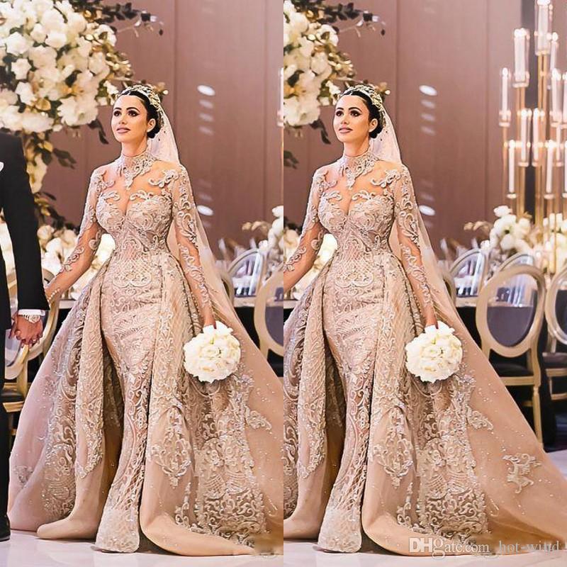 Arabisch Luxussperlen Meerjungfrau Brautkleider 2020 High Hals Langarm Illusion Abnehmbare Zug ABendkleider Brautkleider