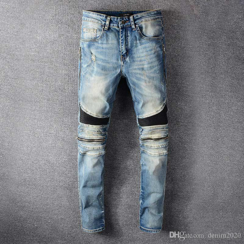 2020 Mens Designer Jeans famosa marca Luxury Designer Jeans Men Fashion Street Vestuário Homens motociclista Calças Jeans Man populares